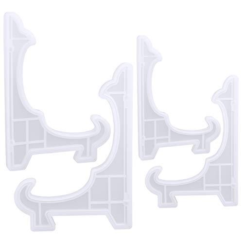 GLAITC Staffeleien Tellerständer Tellerhalter Telleraufsteller,4-teiliger Plattenhalter Displayständer Staffeleien Ständer Harzform Epoxidgussformen, Buchhalter, Bilderrahmen, Dekoration, Basteln