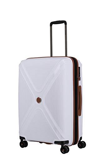 TITAN 4-Rad Koffer Hartschale mit Dehnfalte + TSA Schloss, Gepäck Serie PARADOXX: Hartschalen Trolley mit Akzenten in Leder Optik, 833405-80, 68 cm, 80 Liter (erw. auf 88 Liter), white (weiß)