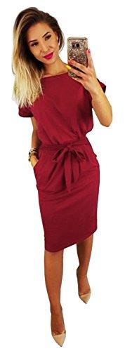 Longwu Vestido de Manga Corta Elegante de Las Mujeres para Trabajar el Vestido Ocasional del lápiz con la Correa Vino Rojo-S