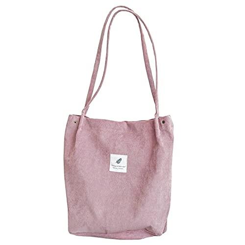 Alta capacidad de las mujeres pana Tote señoras casual bolso de hombro plegable reutilizable compras simple pana bolsa
