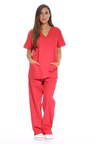 Just Love Damen Peeling-Sets mit 6 Taschen (V-Ausschnitt mit Cargo-Hose) -  Rot -  Groß