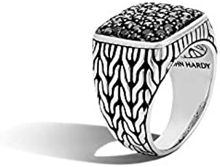 John Hardy Men's Classic Chain Silver Signet Ring with Black Sapphire, Size 10