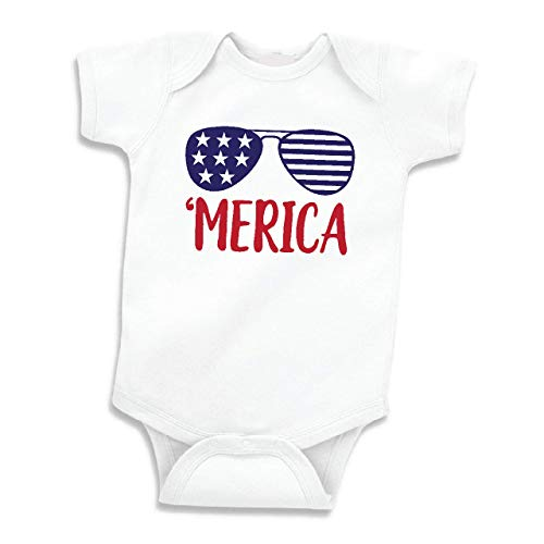 Bump and Beyond Designs Infant First Fourth of July Bodysuit, Merica' (0-3 Months, Short Sleeve)