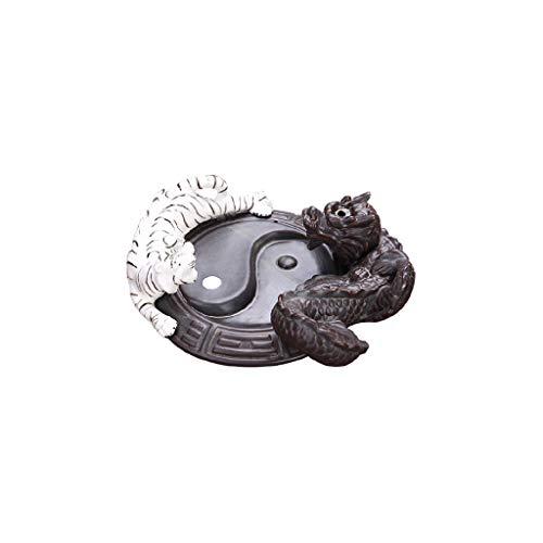 SCDZS Quemador de incienso de cerámica, diseño de dragón de tigre, soporte para quemador de incienso, adornos creativos, sándalo, incienso, ceremonia de té grande, adorno para el hogar