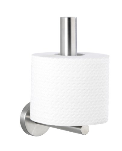 WENKO Toilettenpapier-Ersatzrollenhalter Bosio Edelstahl matt - WC-Rollenhalter, Edelstahl rostfrei, 8 x 18 x 12.5 cm, Matt