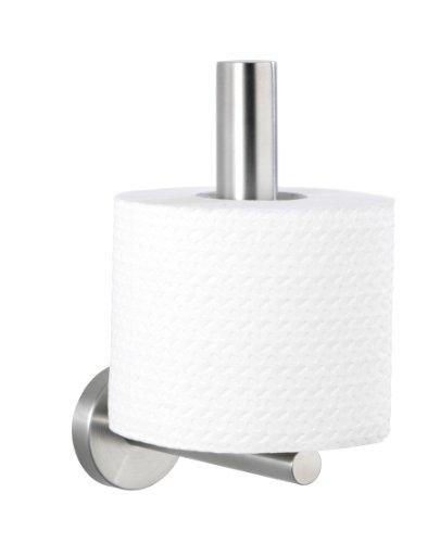 WENKO 19613100 Toilettenpapier-Ersatzrollenhalter Bosio, WC-Rollenhalter, Edelstahl rostfrei, 8 x 18 x 12.5 cm, Matt