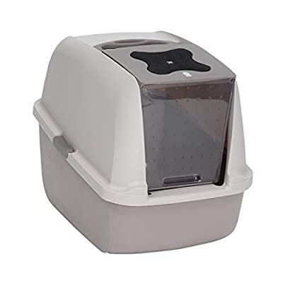 Catit Jumbo Hooded Cat Litter Box - Warm Grey Modern Design