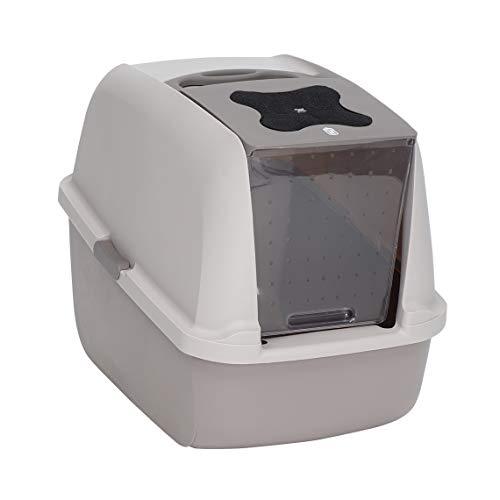 catit 50722 Toilette per Gatto con Copertura Grigia, accaparrarsi/accaparrarsi