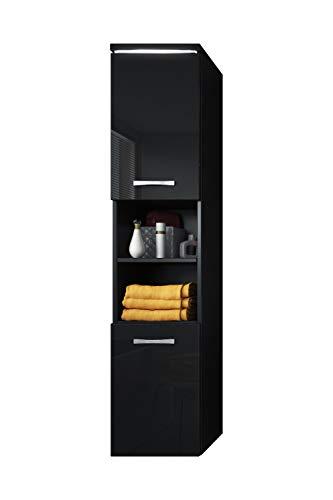 Badkamerkast Paso 160 cm hoogglans zwart - hoge kast meubel badkamermeubel zijkast kast