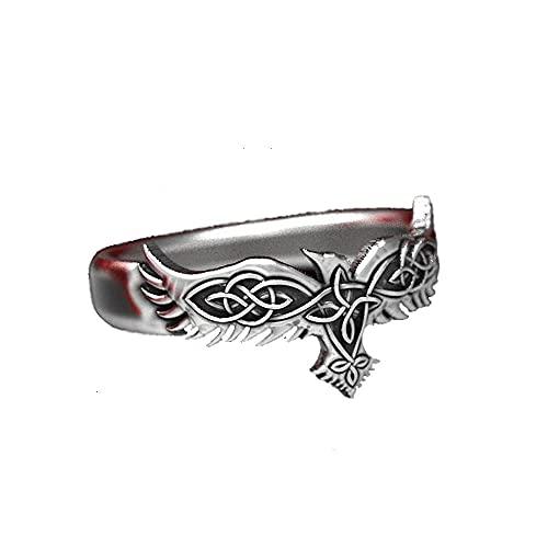 Anillo de cuervo vikingo, anillos de aleación nórdicos vintage para hombre, anillo de boda, joyería punk rock de moda para hombre y mujer-8