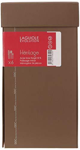 Laguiole Production 439800 Ménagère 24 Pièces Heritage Laguiole Couverts de table Forgé Massif inox 18/0 poli miroir