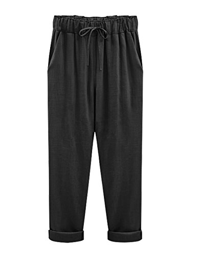 Yeokou Women's Casual Loose Baggy Linen Drawstring Summer Thin Cropped Harem Pants (Large, Black002)