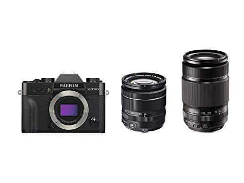 "Fujifilm X-T30 Fotocamera Digitale Mirrorless CSC in Kit, Obiettivo XF18-55mmF2.8-4 R LM OIS, XF55-200mmF3.5-4.8 R LM OIS, 26MP, Sensore CMOS X-Trans 4 APS-C, Schermo LCD Touch 3"", Nero"