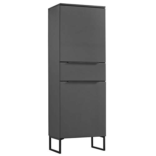 mokebo® Highboard 'Der Vertikale', minimalistischer Vitrinenschrank & Kommode, Made in Germany, MDF in Anthrazit -21