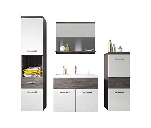 Badezimmer Badmöbel Set Alba 60 cm Waschbecken Bodega mit Weiß - Unterschrank Hochschrank Waschtisch Möbel
