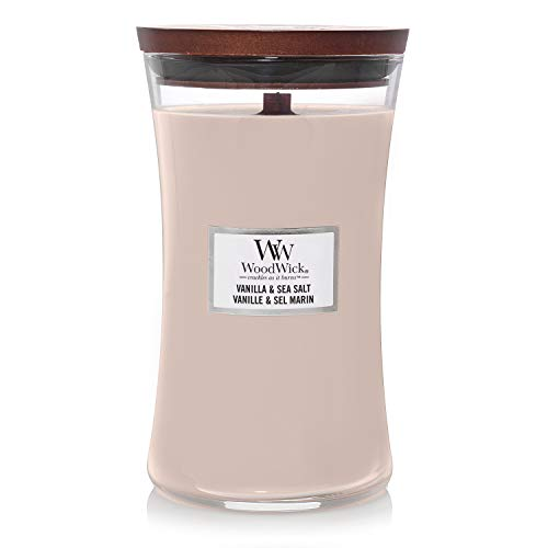 Woodwick Large Hourglass Scented Candle | Vanilla & Sea Salt | with Crackling Wick | Burn Time: Up to 130 Hours Paraffin, Vanilla and Sea Salt