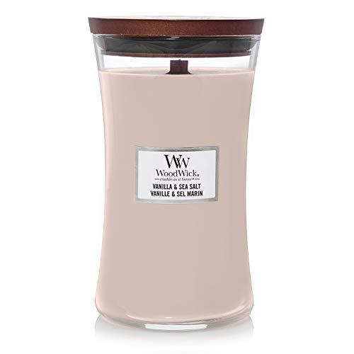 Woodwick Hourglass Candela Profumata Grande con Stoppino Scoppiettante, Fino A 130 Ore, Cera, Rosa (Vaniglia e Sale Marino), 4 unità