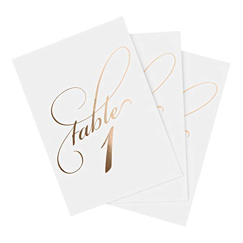 Bliss Collections Rose Gold Table Numbers 1-40 Plus Head Table Card - 4x6 Double-Sided Cards for Your Wedding, Reception, Anniversary, Birthday Party or Celebration, Black Font, White Card Stock