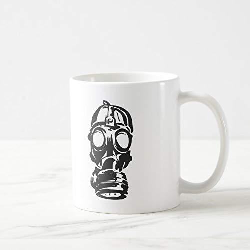 N\A Lustige Kaffeetasse, Illustration Hand gezeichnet von Skizze Gasmaske Kaffeetasse, 11 Unzen Kaffeetasse Tee oder Kaffeetasse, Neuheit Kaffeetasse Geschenke für Frauen Männer