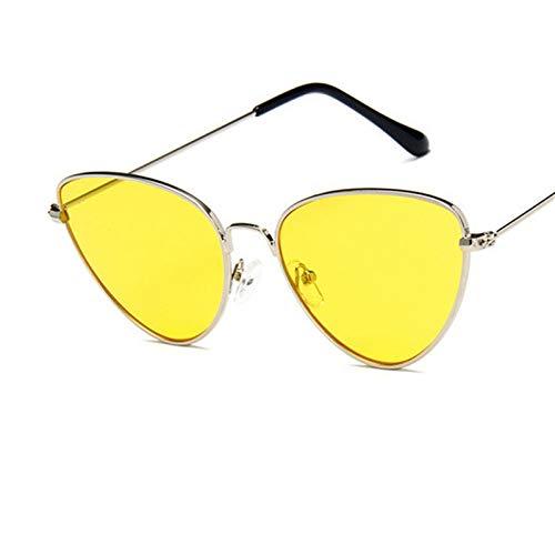 SCAYK Moda Mujer Gato Ojo Gafas de Sol Marca de diseño Retro Retro Recubrimiento Espejo Espejo de Sol Gafas Gafas UV400 Gafas de Sol Gafas Ojo Gafas de Sol Moda Gafas de Sol (Lenses Color : C3Yellow)
