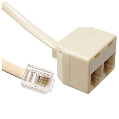 BeMatik - Prolongador de cable telefónico de 4 hilos con RJ11 con duplicador 7.5m
