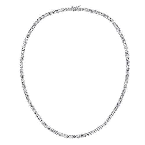 BVONE Tennis Kette Weißgoldete Herren 5mm Diamant Erstellt Tennis Halskette 45cm Schmuck Geschenke für Damen Frauen