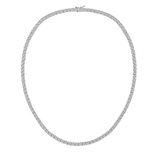 Gold Plated Necklace Tennis Chain Mens 5mm Iced Lab Diamond Hip Hop Necklaces Jewellery Gifts for Women 18 Inch (5mm White Gold Chain 18')