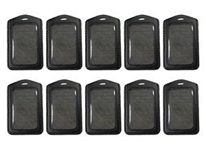 KLOUD City 10 pcs Vertical Style Black Leather Business ID Badge Card Holder with Slot & Chain Holes