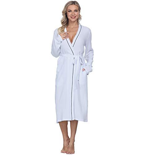 Mnemo Albornoz de mujer de algodón, largo suave, bata con bolsillos, ajuste de cinturón, ropa de noche ligera, tejido de doble gorra, de manga larga, adecuado para maternidad Blanco XS