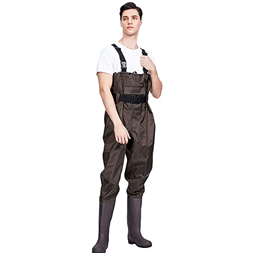 CAMILYIN PVC Vadeadores de Pesca para Hombre, Pantalones de Vadeo de Media Longitud para Hombres de Pesca,Pantalón Impermeable de Una Pieza,Pantalones de Vadeo Impermeables Engrosados,3,46