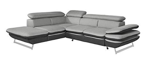 Mivano Ecksofa Prestige / L-Form-Sofa mit Ottomane / Kopfstützen und Armlehne verstellbar / 265 x 74 x 223 / Zweifarbiger Strukturstoff, grau/anthrazit