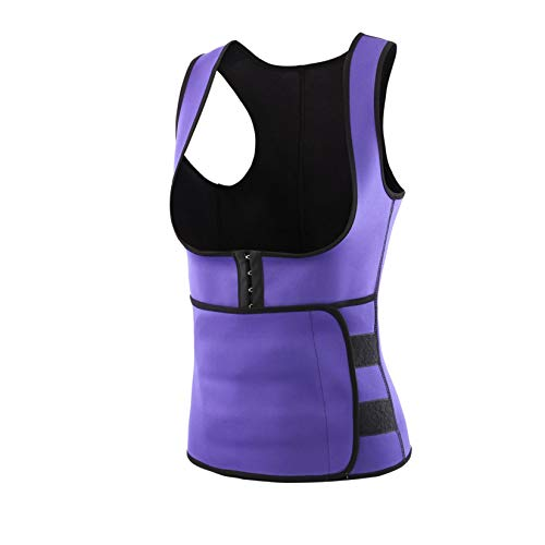 Youmymine Womens Sauna Sweat Waist Trainer Vest Weight Loss Waist Cincher Corset Trimmer Belt Slimming Body Shaper (Purple, L)