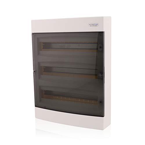Sicherungskasten Aufputz 3 reihig für 54 Module mit DIN Schiene AP-Verteiler IP40 transparenter Tür für die Trockenraum Installation im Eigenheim
