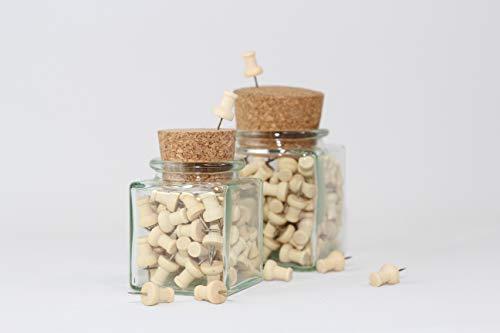 Echtholz Pin Nadeln in elegantem Korkglas, umweltfreundliche Aufbewahrung, Pinnadeln, Pin Nadel, Reißzwecke, Kork