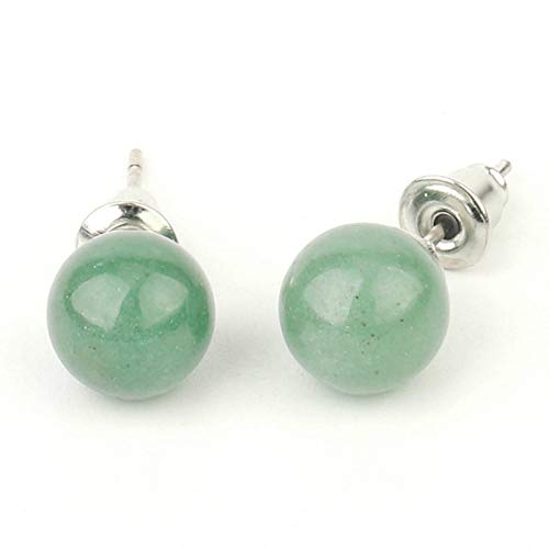QIN Natural stone stud earring crystal quartz beaded beads silver simple fashion ear jewelry