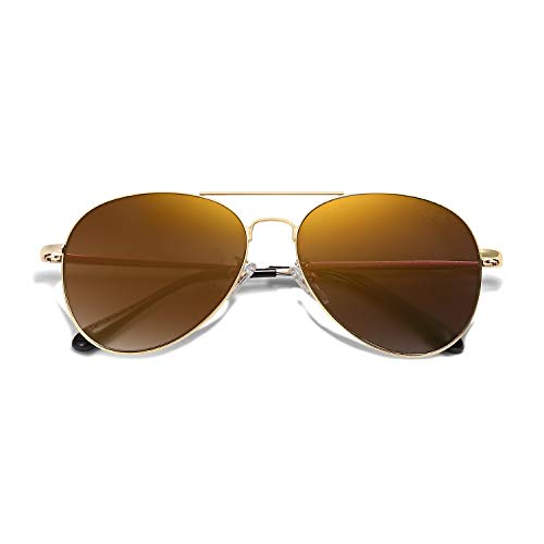 Sojos Classic Brown Lens Aviator Sunglasses for Men or Women with spring hinges