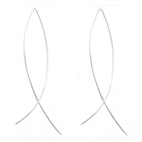 Kanggest 1 Par Aros Pendientes de Mujer Moda Niña forma de pescado Largos Aretes Pendientes para Mujeres Joyería Accesorios(color plata)