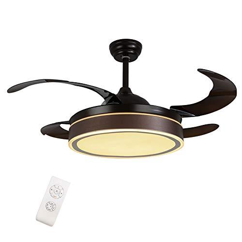 """OUKANING 42"""" Deckenventilator mit Beleuchtung LED-Licht Einstellbare Windgeschwindigkeit Dimmbar mit Fernbedienung Einklappbare Flügel Moderne LED Fan Deckenleuchte für Schlafzimmer(Braun)"""