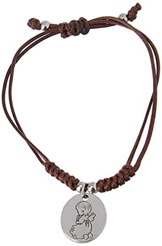 Mopec- Pulsera de Cordón Trenzado con Medalla de ángel. Detalles primera comunión. Pack 4 Unidades, Color marrón (1) , color/modelo surtido