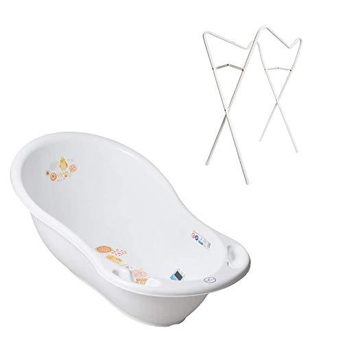 Tega Baby ® ergonomische Badewanne 86cm SET 3-teilig mit faltbarem Gestell + Stöpsel zum Wasserablassen Abfluss Babybadewanne 0-12 Monate, Motiv: Folk - weiß, Ständer: Weiß