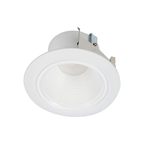 Cooper Lighting RLD4069301EWHR RL 4 in. White Integrated Recessed Ceiling Light Retrofit Trim at 3000K Soft, Deep Baffle for Low Glare LED Module, 4 Inches