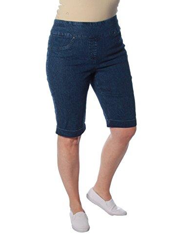 Ruby Rd. Women's Pull-on Extra Stretch Cuffed Denim Short, Indigo, 14