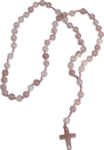 Gebetskette Rosenkranz aus Rosenquarz, 59 Kugeln, Kristall für Liebe, Herz und Sensibilität