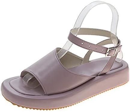 ZAIXO Female Ladies One Line Open Toe Platform Sandals Summer Women Shoes Female Fashion Buckle Casual Ankle Strap Comfortable Shoes Women Sandals (Color : Pink, Shoe Size : 7.5)