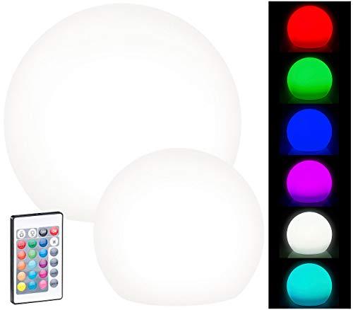 Lunartec LED-Solarkugeln: Bundel Solar-LED-Leuchtkugeln mit Fernbedienung, Ø20cm + Ø30cm (Solarkugel für Garten)