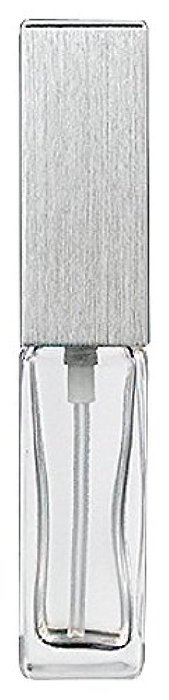 シングルホスト内向き15491 メンズアトマイザー角ビン クリア キャップ ヘアラインシルバー