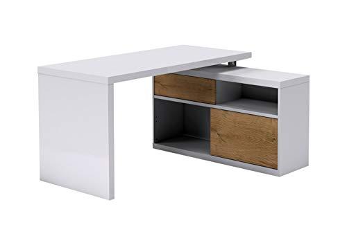 Nicht Zutreffend Eckschreibtisch Schreibtisch Computertisch | Weiß Hochglanz | Balkeneiche | 2 Schiebetüren