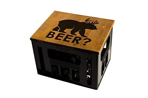 ultiMade Bierkastensitz Holz Sitzauflage für Bierkiste Geschenkidee Geschenk für Männer Biergeschenk Hocker Holz: Beer
