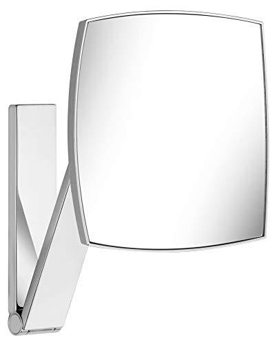 KEUCO Wand-Kosmetikspiegel mit Schwenkarm und Drehgelenk, 5-facher Vergrößerung, 20x20cm, eckig, chrom, zur Wandmontage, edles Design, iLook_move
