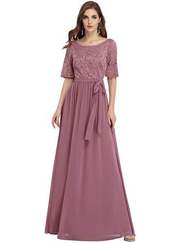 Ever-Pretty A-línea Encaje Talla Grande Vestido para Invitada de Boda Cuello Redondo...